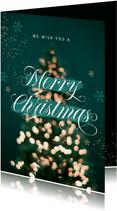 Zakelijke kerstkaart merry christmas lampjes kerstboom