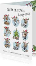 Zakelijke kerstkaart met 9 rendieren in de advocatuur