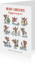 zakelijke kerstkaart met 9 rendieren