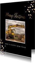 Zakelijke kerstkaart met foto en gouden confetti