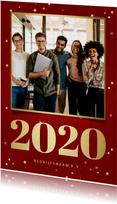 Zakelijke kerstkaart met foto, gouden 2020 en sterren