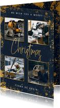 Zakelijke kerstkaart met gouden kader, foto's en typografie
