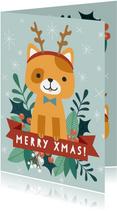 Zakelijke kerstkaart met illustratie van kat en takjes