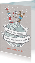 Zakelijke kerstkaart met kerstman en rendier op wereldbol