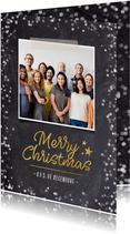 Zakelijke kerstkaart met krijtbord achtergrond en foto
