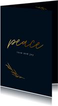 Zakelijke kerstkaart met peace en goudlook takje