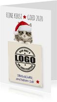 Zakelijke kerstkaart met poes en logo