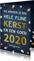 Zakelijke kerstkaart met tekst 2020 en vrolijke confetti