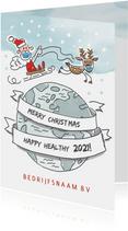 Zakelijke kerstkaart met vliegende kerstman en rendier