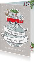 Zakelijke kerstkaart met vw busje op wereldbol
