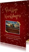 Zakelijke kerstkaart rood met foto en goud