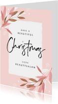 Zakelijke kerstkaart roze stijlvol beauty