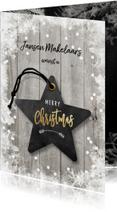 Zakelijke kerstkaart ster en hout