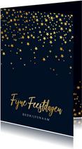 Zakelijke kerstkaart sterren goud stijlvol fijne feestdagen