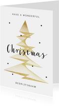 Zakelijke kerstkaart stijlvol goud grafisch sterren