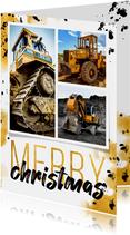 Zakelijke kerstkaart stoer goud met zwart fotocollage
