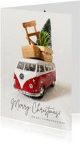 Zakelijke kerstkaart verhuisbedrijf met volkswagenbusje