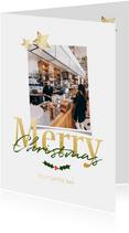 Zakelijke kerstkaart wit staand - een gouden kerst