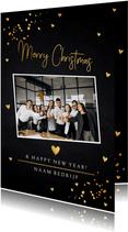 Zakelijke kerstkaart zwart foto goudlook confetti