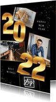 Zakelijke Nieuwjaarskaart 2022 goud cijfers spetters foto