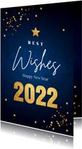 Zakelijke nieuwjaarskaart donkerblauw goudlook
