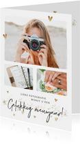 Zakelijke nieuwjaarskaart met foto's en goudlook hartjes