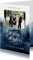 Zakelijke nieuwjaarskaart warm wishes 2021 verf foto