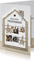 Zakelijke polaroid fotocollage kerstkaart met houten huisje