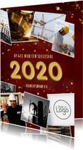Zakelijke rode nieuwjaarskaart met gouden 2020 en polaroids