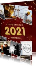 Zakelijke rode nieuwjaarskaart met gouden 2021 en polaroids