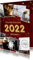 Zakelijke rode nieuwjaarskaart met gouden 2022 en polaroids