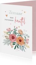 Zomaar kaart bloemen dikke knuffel hartjes foto