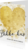 Zomaar kaart dikke kus door de brievenbus gouden hart