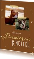 Zomaar kaart papieren knuffel met hartjes en 2 foto's