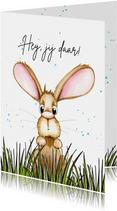 Zomaar kaarten konijn kijkt over het gras