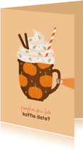 Zomaar kaartje koffie date herfst oranje