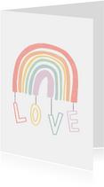 Zomaar kaartje regenboog met love in pastel