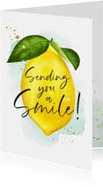 Zomaarkaart met geïllustreerde citroen en lieve spreuk