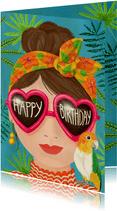 Zonnige verjaardagskaart voor meiden