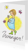 Felicitatiekaarten - Zwanger, vrouw met bloem