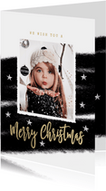 Zwart wit kerstkaart streep foto