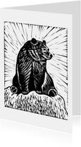 Zwart-wit woonkaart beer