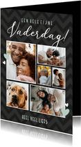 Zwarte fotocollage vaderdagkaart met 6 eigen foto's