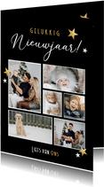 Zwarte staande fotocollage nieuwjaarskaart met 6 foto's