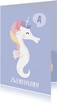 Zwemdiploma felicitatie kaart met een unicorn zeepaardje