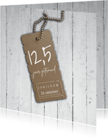 1,25 jaar getrouwd uitnodiging met hout look