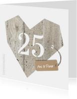 25 jaar huwelijk - houten hart