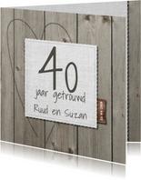 25 jarige jubileumkaart hout en linnen
