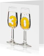 Verjaardagskaarten - 30 in champagneglazen