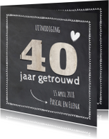 40 jaar getrouwd - hout krijtbord